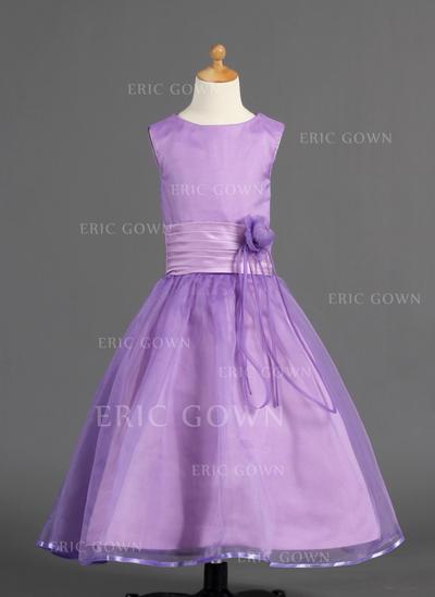Glamorous Scoop Neck A-Line/Princess Flower Girl Dresses Ankle-length Organza/Charmeuse Sleeveless (010005910)
