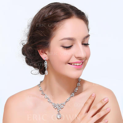 Jewelry Sets Alloy Rhinestone Lobster Clasp Earclip Wedding & Party Jewelry (011167968)
