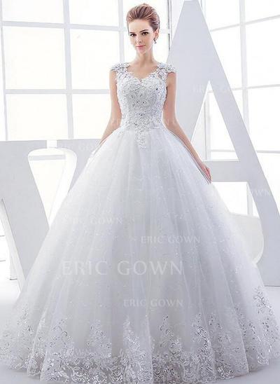 Ball-Gown Tulle Sleeveless V-neck Floor-Length Wedding Dresses (002147918)