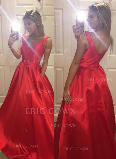 A-Line/Princess Satin Prom Dresses Ruffle V-neck Sleeveless Sweep Train (018210208)