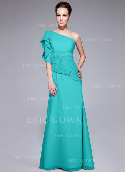 Modern Chiffon Evening Dresses Trumpet/Mermaid Floor-Length One-Shoulder Short Sleeves (017062985)