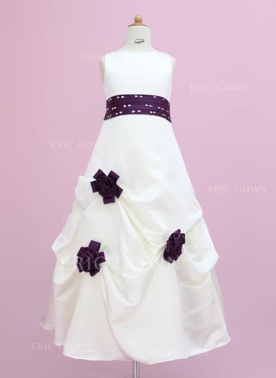 Delicate Scoop Neck A-Line/Princess Flower Girl Dresses Floor-length Satin Sleeveless (010002149)