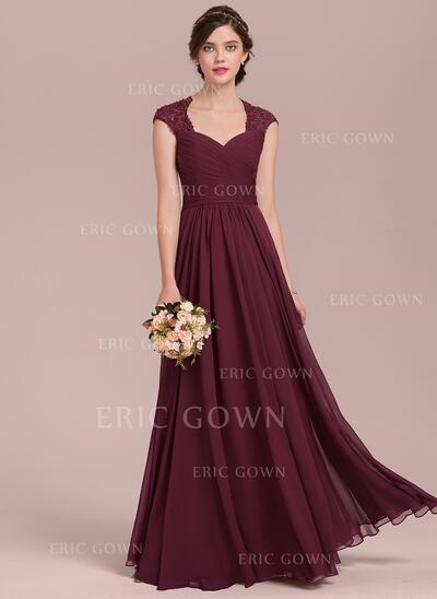 A-Line/Princess Sweetheart Floor-Length Chiffon Lace Evening Dress With Ruffle Beading (017144987)