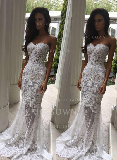 Trumpet/Mermaid Sweetheart Sweep Train Wedding Dresses With Beading (002146251)