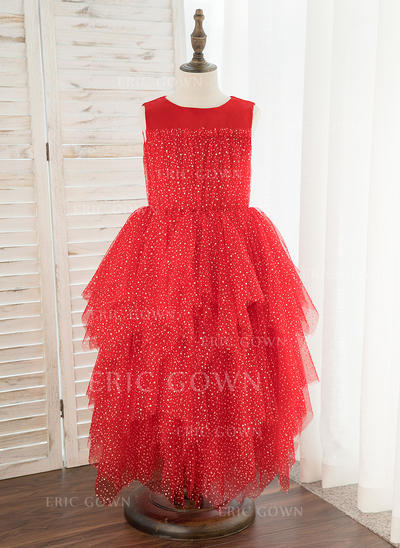 A-Line Tea-length Flower Girl Dress - Satin/Tulle Sleeveless Scoop Neck (010172380)