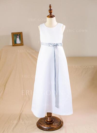 A-Line/Princess Floor-length Flower Girl Dress - Satin Sleeveless Scoop Neck With Sash/Bow(s) (010094131)