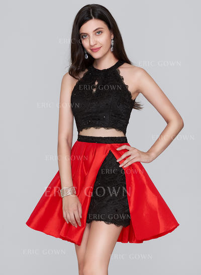 A-Line/Princess Scoop Neck Short/Mini Taffeta Lace Homecoming Dresses With Beading Sequins (022214153)