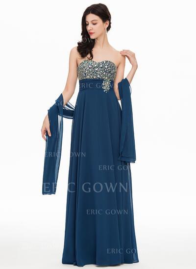 A-Line/Princess Sweetheart Floor-Length Chiffon Evening Dress With Beading (017169832)