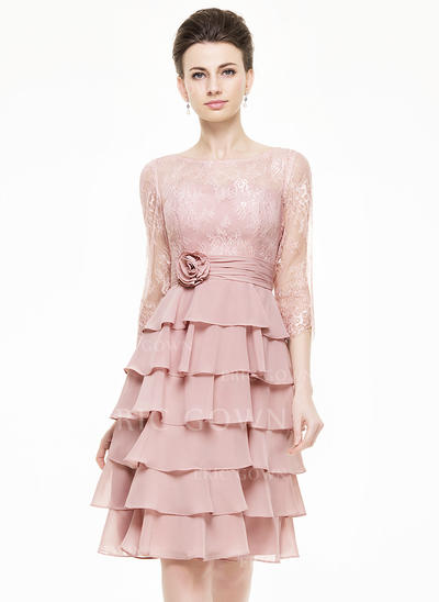 A-Line/Princess Scoop Neck Knee-Length Chiffon Lace Mother of the Bride Dress With Flower(s) Cascading Ruffles (008062547)