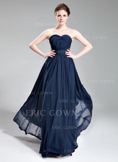 A-Line/Princess Sweetheart Floor-Length Evening Dresses With Ruffle Beading (017019741)