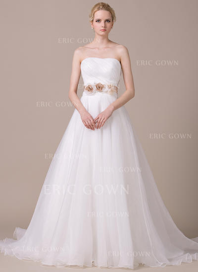 Ball-Gown Sweetheart Court Train Wedding Dresses With Ruffle Sash Beading Flower(s) Sequins Bow(s) (002210577)