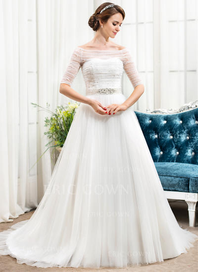 Off-The-Shoulder A-Line/Princess Wedding Dresses Tulle Ruffle Beading Sequins Chapel Train (002056488)