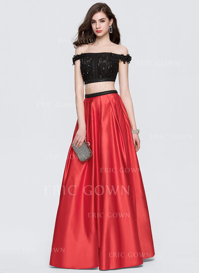Ball-Gown Off-the-Shoulder Floor-Length Satin Prom Dresses With Beading (018146359)