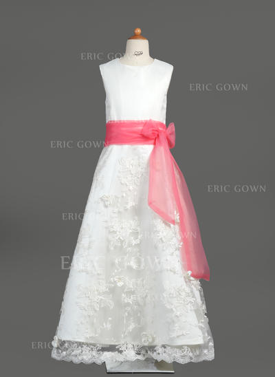 Fashion Scoop Neck A-Line/Princess Flower Girl Dresses Floor-length Organza/Satin/Lace Sleeveless (010005878)