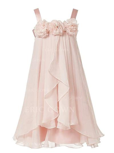 A-Line/Princess Straps Tea-length With Flower(s) Chiffon Flower Girl Dresses (010211773)