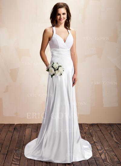 Halter A-Line/Princess Wedding Dresses Charmeuse Lace Ruffle Sleeveless Court Train (002213237)