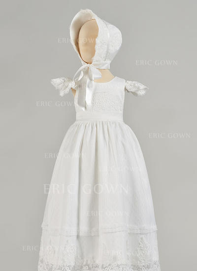 A-Line/Princess Scoop Neck Floor-length Satin Tulle Christening Gowns (2001217434)