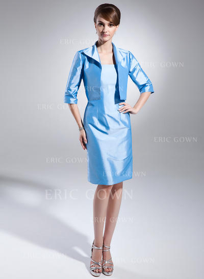 Sheath/Column Taffeta Sleeveless Strapless Knee-Length Zipper Up Mother of the Bride Dresses (008213137)