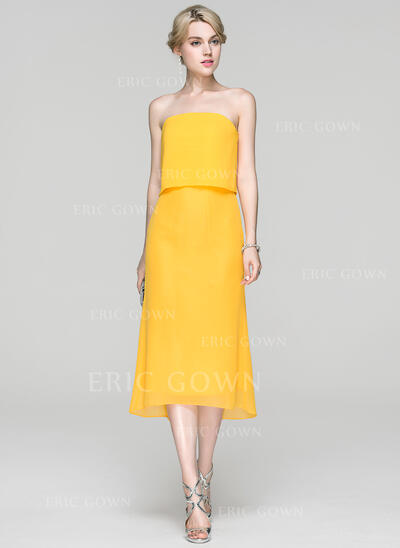 Sheath/Column Strapless Asymmetrical Chiffon Cocktail Dress (016094346)