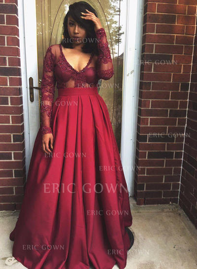 A-Line/Princess Satin Prom Dresses Beading Appliques Lace V-neck Long Sleeves Floor-Length (018196646)