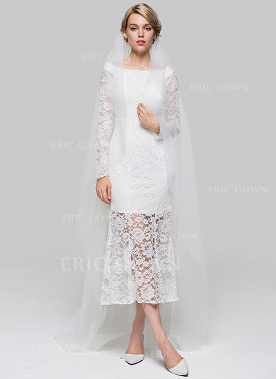 Chapel Bridal Veils Tulle One-tier Drop Veil With Cut Edge Wedding Veils (006151922)