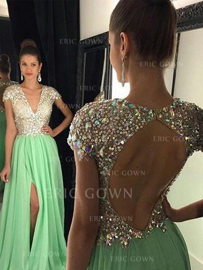 A-Line/Princess Chiffon Prom Dresses Sequins V-neck Sleeveless Floor-Length (018210332)