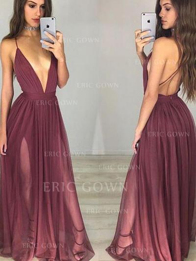 A-Line/Princess V-neck Floor-Length Chiffon Prom Dresses With Ruffle (018217286)