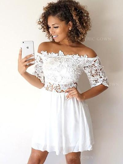 A-Line/Princess Off-the-Shoulder Short/Mini Cocktail Dresses With Lace Appliques Lace (016218372)
