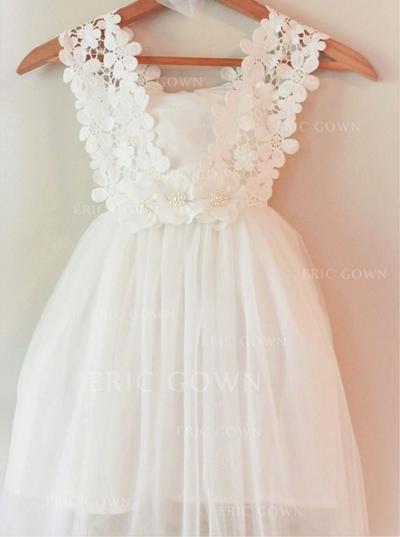 Newest Square Neckline A-Line/Princess Flower Girl Dresses Knee-length Chiffon Sleeveless (010146808)