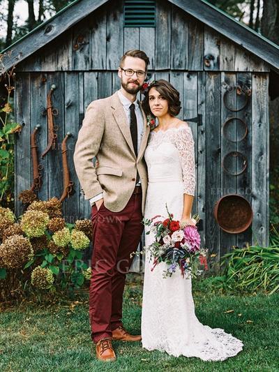 Jacka Spets 3/4-Långa Ärmar Off Shoulder- Sweep släp Bröllopsklänningar (002144855)