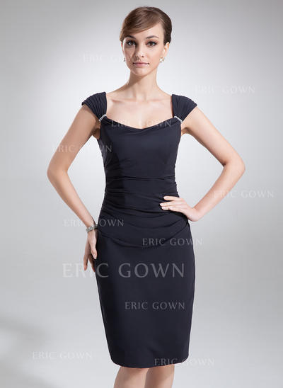 Sheath/Column Chiffon Sleeveless Cowl Neck Knee-Length Zipper Up Mother of the Bride Dresses (008211019)
