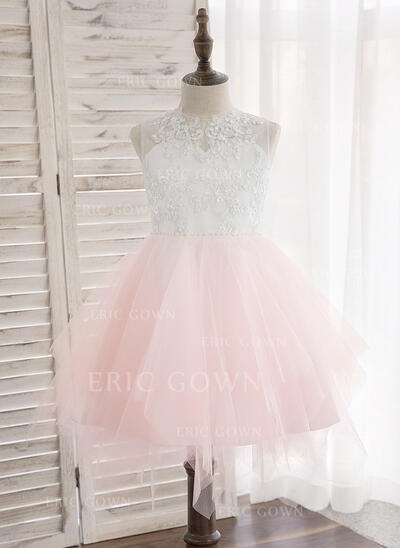 A-Line/Princess Knee-length Flower Girl Dress - Tulle/Lace Sleeveless Scoop Neck With Beading/Bow(s) (010148829)