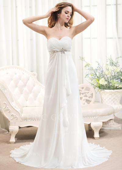 A-Line/Princess Sweetheart Sweep Train Wedding Dresses With Beading Cascading Ruffles (002211512)