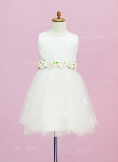 Newest Scoop Neck A-Line/Princess Flower Girl Dresses Tea-length Satin/Tulle Sleeveless (010005331)