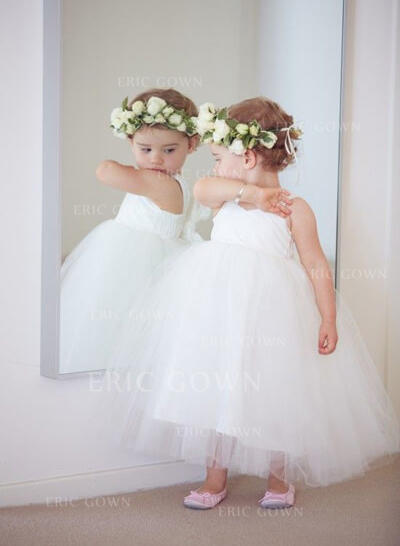 Ball Gown Sweetheart Ankle-length With Bow(s) Tulle Flower Girl Dresses (010212176)