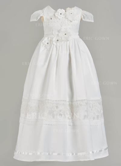 A-Line/Princess Scoop Neck Floor-length Satin Christening Gowns With Beading Flower(s) (2001217408)