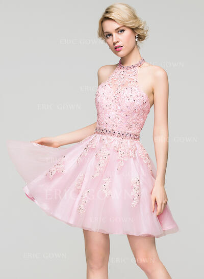 A-Line/Princess Halter Short/Mini Tulle Prom Dresses With Beading Sequins (018113201)