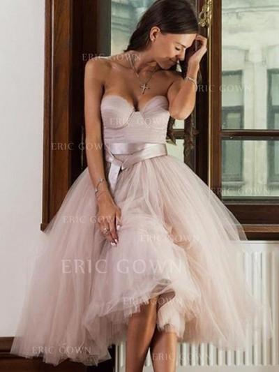 A-Line/Princess Sweetheart Tea-Length Homecoming Dresses With Sash (022219408)
