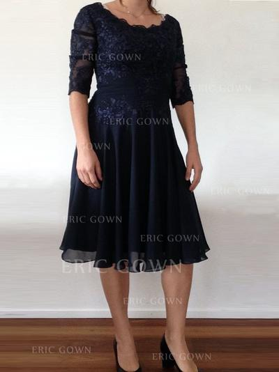 A-Line/Princess Chiffon 1/2 Sleeves Scoop Neck Knee-Length Zipper Up Mother of the Bride Dresses (008212722)