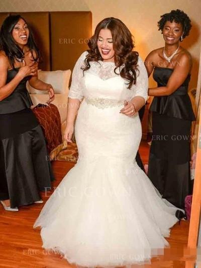 Trumpet/Mermaid Tulle Half Sleeves Off-The-Shoulder Sweep Train Wedding Dresses (002147872)
