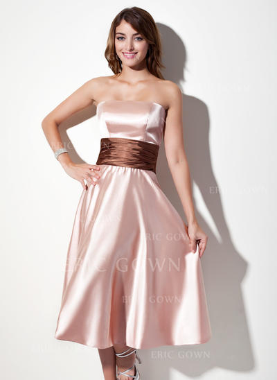 A-Line/Princess Charmeuse Bridesmaid Dresses Sash Strapless Sleeveless Tea-Length (007001915)