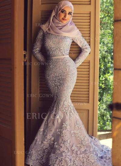 Trumpet/Mermaid Scoop Neck Sweep Train Lace Evening Dresses With Sash Appliques Lace (017217820)