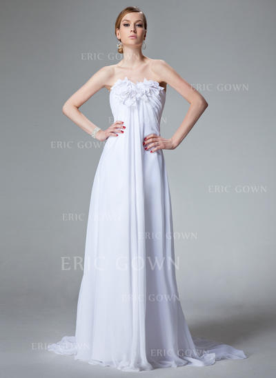 Empire Sweetheart Court Train Wedding Dresses With Ruffle Beading Flower(s) (002000679)