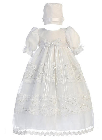 A-Line/Princess Scoop Neck Floor-length Tulle Sequined Christening Gowns With Lace (2001216857)