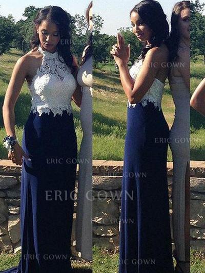 Sheath/Column Halter Floor-Length Evening Dresses With Lace (017218575)