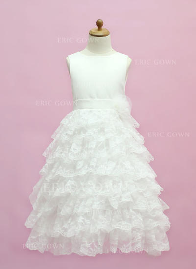 Chic Scoop Neck A-Line/Princess Flower Girl Dresses Floor-length Satin/Lace Sleeveless (010005333)