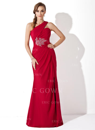 Trumpet/Mermaid Chiffon Sleeveless One-Shoulder Watteau Train Zipper Up Mother of the Bride Dresses (008211212)