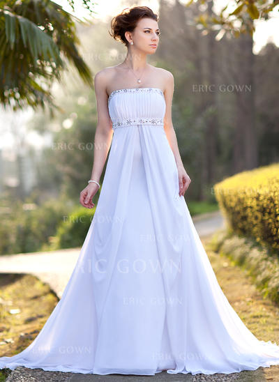 Empire Chiffon Strapless Court Train Wedding Dresses (002001417)