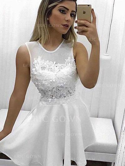 A-Line/Princess Scoop Neck Short/Mini Homecoming Dresses With Appliques Lace (022216311)