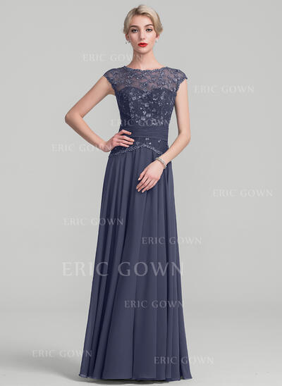 A-Line/Princess Scoop Neck Floor-Length Chiffon Lace Mother of the Bride Dress With Ruffle (008114235)